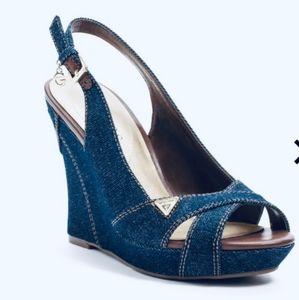 New Guess Tilden Denim Wedge Sandal Size 7.5